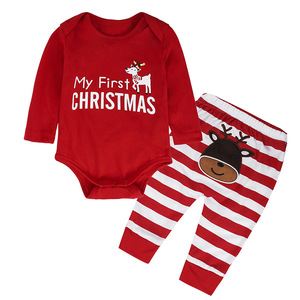 2017 New Year Christmas Gift for Boys and Girls Elk Printed Baby Clothing Sets of Romper + Striped Pants 2pcs. Baby Suit