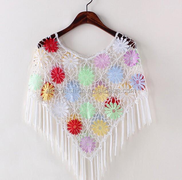 Encuentre el mejor fabricante de ruanas tejidas en crochet y ruanas ...