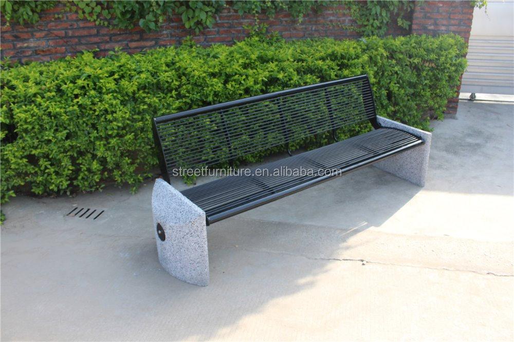Banco de jard n de metal pesado y resistente de hormig n for Banco de paletas al aire libre