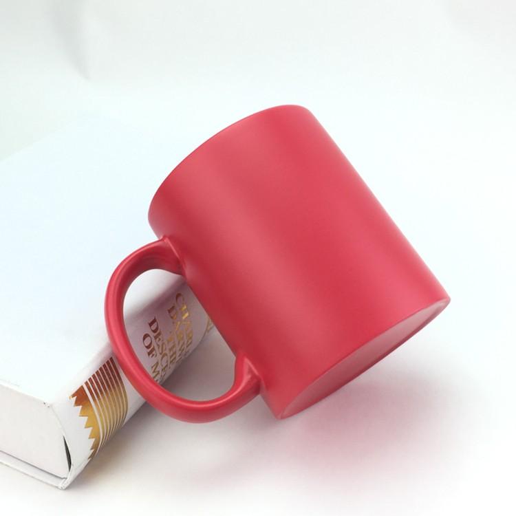 wholesale cheap 11oz semi-sanding magic mug color changing mug for sublimation