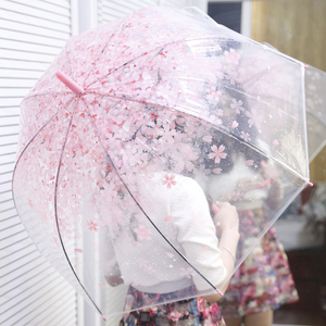 RST promotional auto open fashion cheap amazon clear plastic umbrella cherry blossom princess umbrella