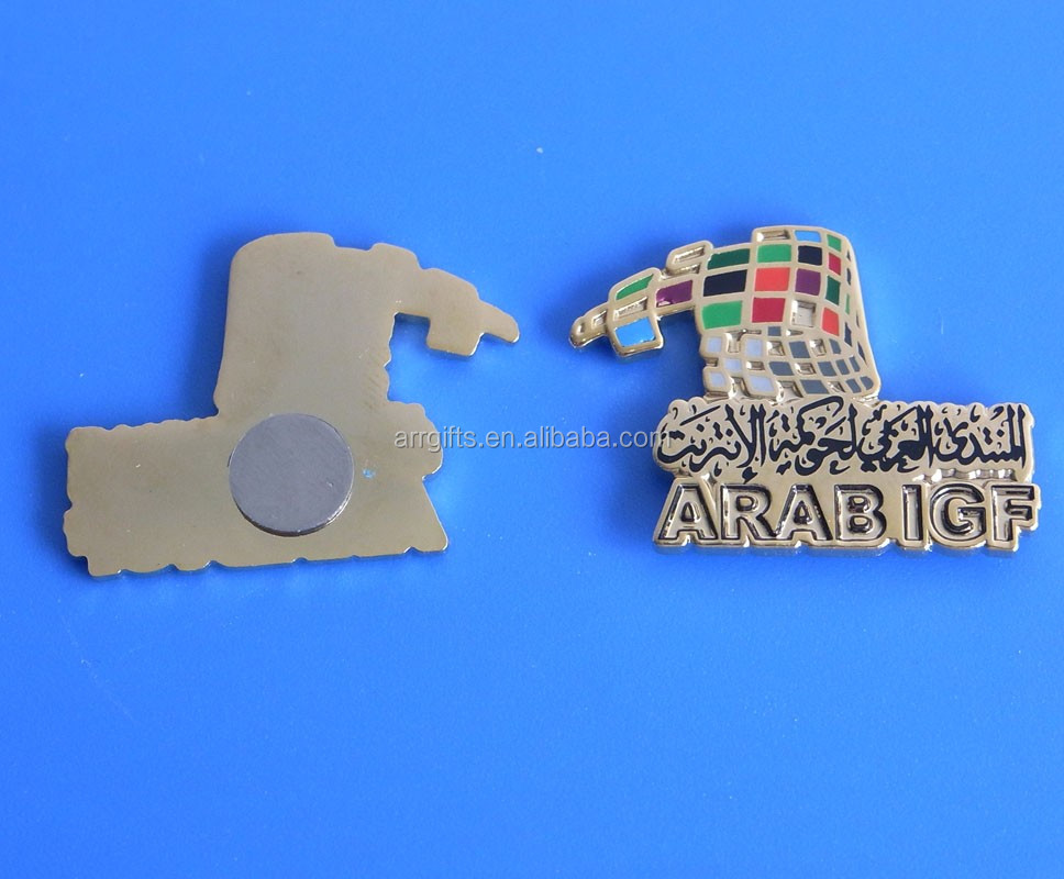 Cut Out Imprint Enamel Filling Arab Igf Magnet Pin Badge
