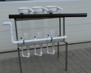 Fish/shrimp hatchery made of acrylic glass with tapered bottom