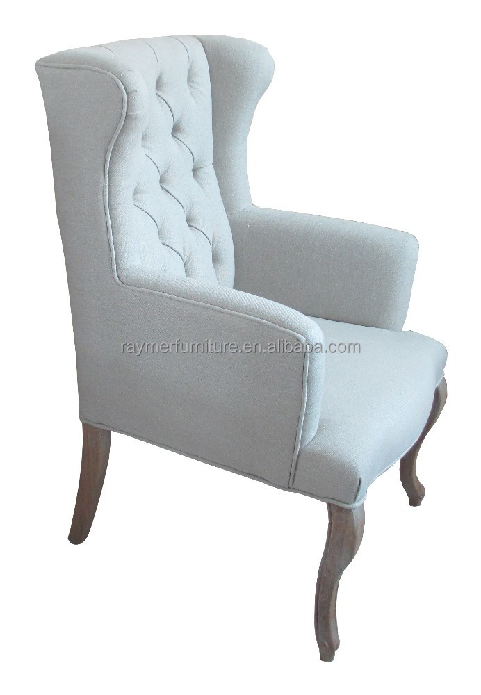 French Style Fabric Upholstered High Wing Back Dining Chair With Arms - Buy  Accent High Back Dining Chairs,Tufted Dining Room Chairs,French Style ...