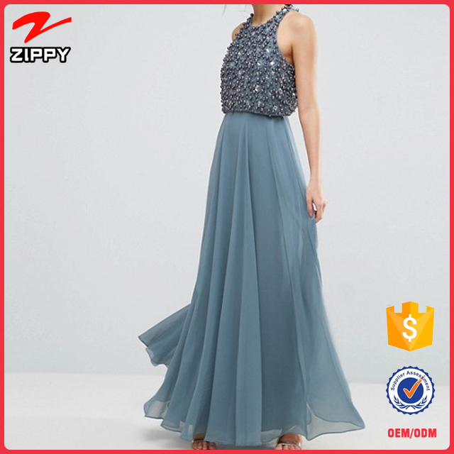 Embellished Pearl Crop Top Maxi sequin long party dress for ladies
