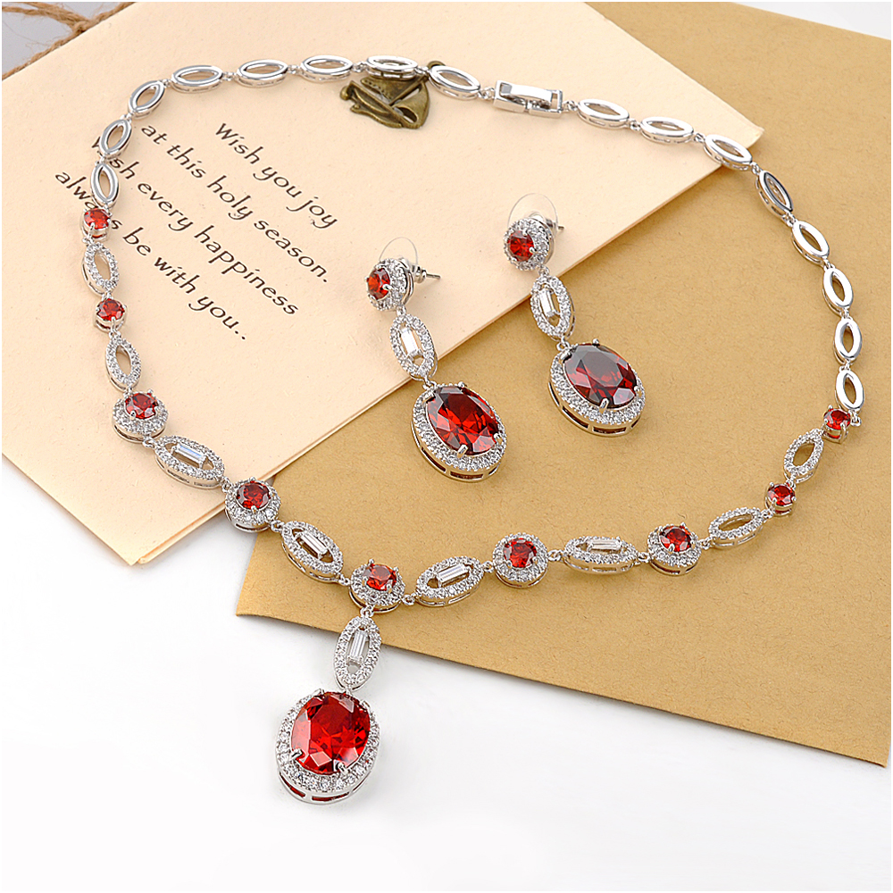 Mytys Newest Design 14k Gold Jewelry Wholesale Ruby Stone Necklace