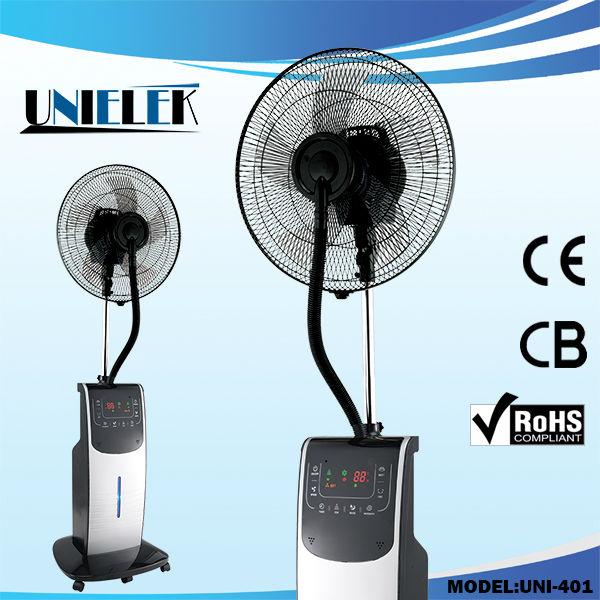 Pedestal Fan With Fogging Machine Water Spray Portable Mist Fan Cooling  Water Misting Fan