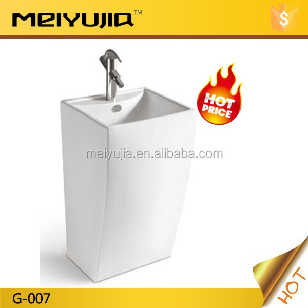 Foshan Meiyujia Ceramic G-007 one piece wash basin with pedestal