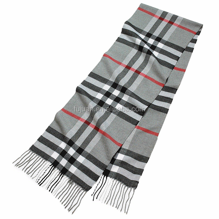 Winter acrylic cashmere soft material men cashmere feel acrylic fringe plain scarf pattern