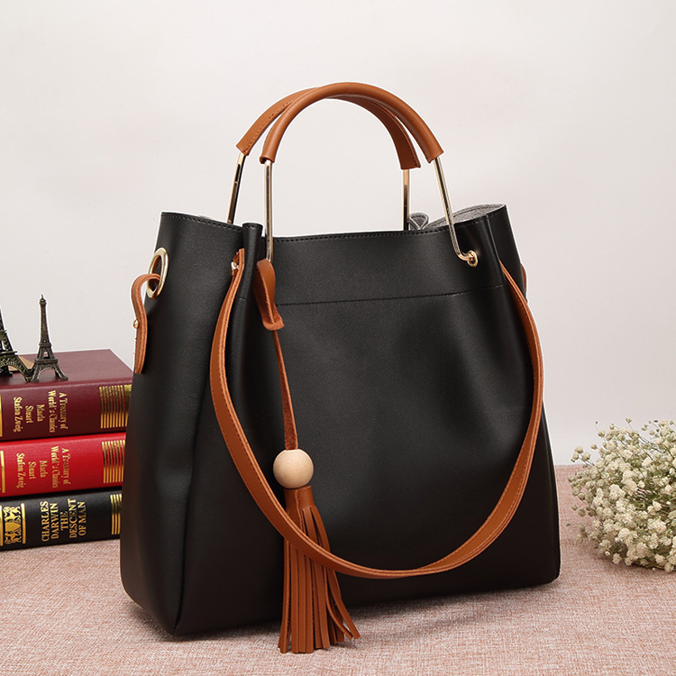 Manufacturer china leather Fringe tassel set bags hand bag women