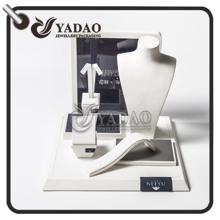 Commercial custom wooden frame leather cover jewelry display stand for jewelry display showcase