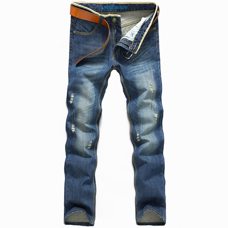6ef366277fb Hole Worn Jeans Feet Korean Slim Light Blue Jeans Male Tight Popular Youth  Slim Cotton Man Tight Trousers Hole Worn Jeans Feet