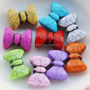 Imitate Howlite Bowknot Beads Bow Tie Acrylic Plastic Beads Mixded Colors