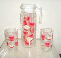 Drinking Water Glass Set 7pcs,Water Pitcher