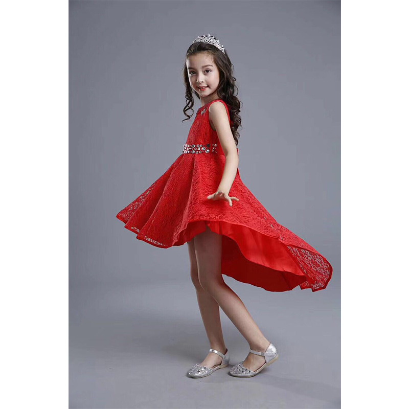 dd7d24d147 Pakistan and Indian Child frock design baby frock Red girls party dress  short front long back