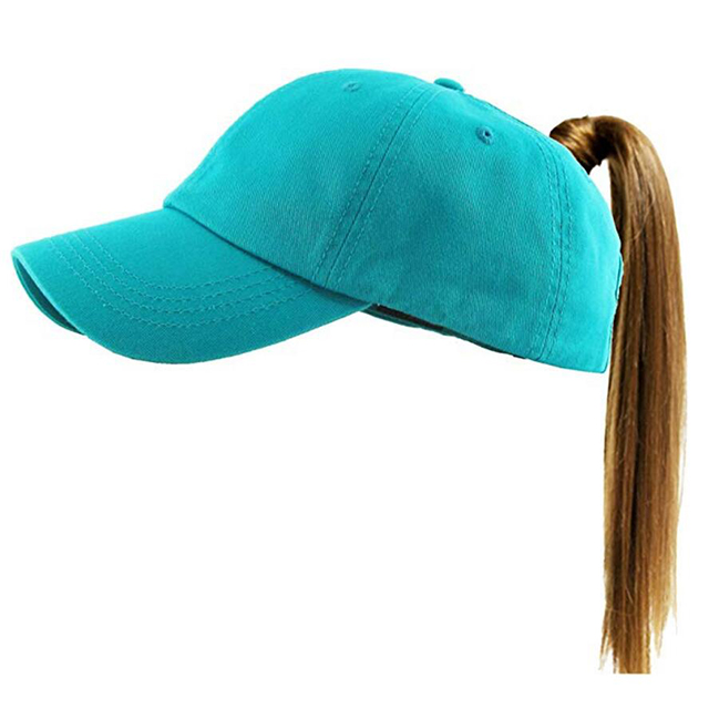 Ponytail Messy High Bun Hat Adjustable Cotton and Mesh Trucker Baseball <strong>Cap</strong>