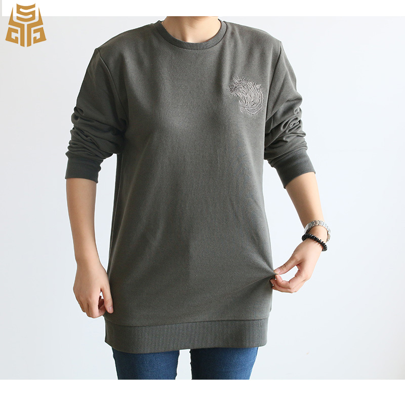 Spring Crew Neck Fashion Solid Color Custom Hoodie Long Sleeve Tiger Embroidered Pullover Sweatshirts For Woman