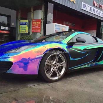 Premium Rainbow Chrome Mobil Vinyl Wrap Gelembung Gratis Untuk Mobil