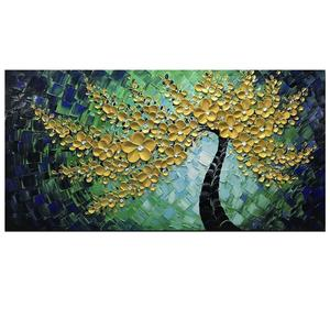 Hand Painted Green Gold Flowers Wall Art On Canvas Abstract Oil Paintings Textured Modern Artwork Hand Painted Square Picture