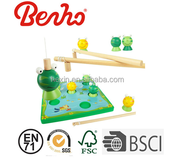 Lovely Animals Frog Game Magnetic Pretend Fishing Game Wooden Educational Toys