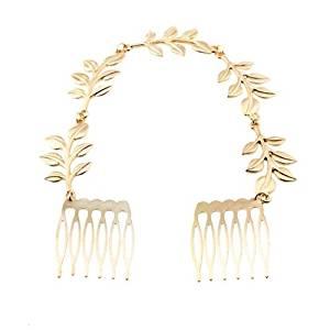 TOOGOO(R) Vintage Alloy Gold Leaf Hair 2 Comb Pin Bridesmaid Tiara Chic 220x23mm