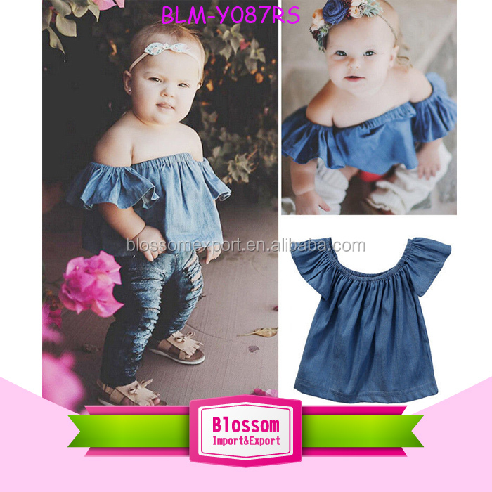 7db36f73a10 Toddlers Kids Blue Denim Jeans Blouse Pullover Falbala Short Sleeve Baby  Girls Off Shoulder Tops T