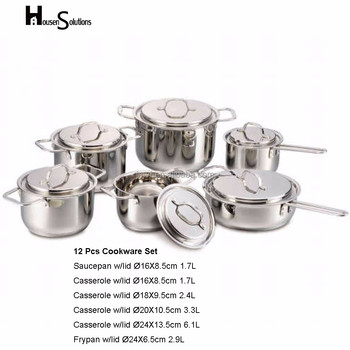 12pcs straight shade with cut edge stainless steel nonstick cookware set