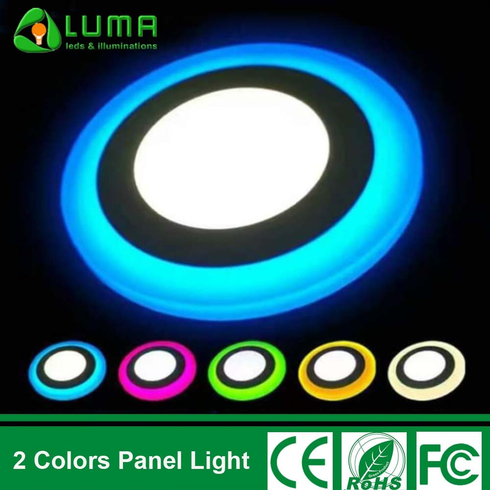 Dual Color LED Light Ceiling Recessed Round Panel Light 3+3W