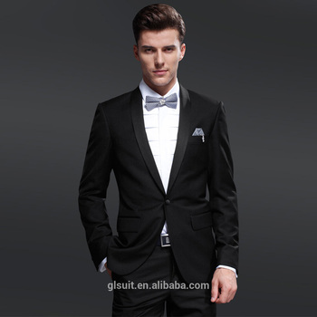 Wool One Button Shawl Lapel Black Unique Wedding Tuxedos For Men