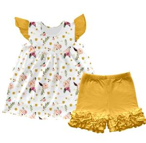 Hot sale super cute baby girls clothing sets