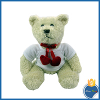 white 100% polyester sublimation printable tshirt 20cm two hearts teddy bear
