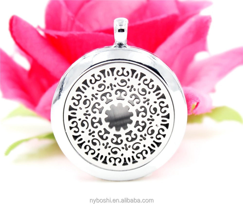 Perfume Locket Necklace zinc alloy fram and Stainless Steel face and back Oil Diffuser Locket Pendant XX23 Newest Design