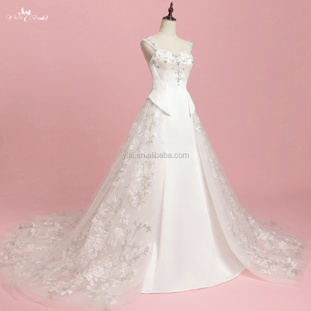 RSW1319 Modern Removable Tulle Overskirt Mermaid Wedding Dresses With Detachable Skirt