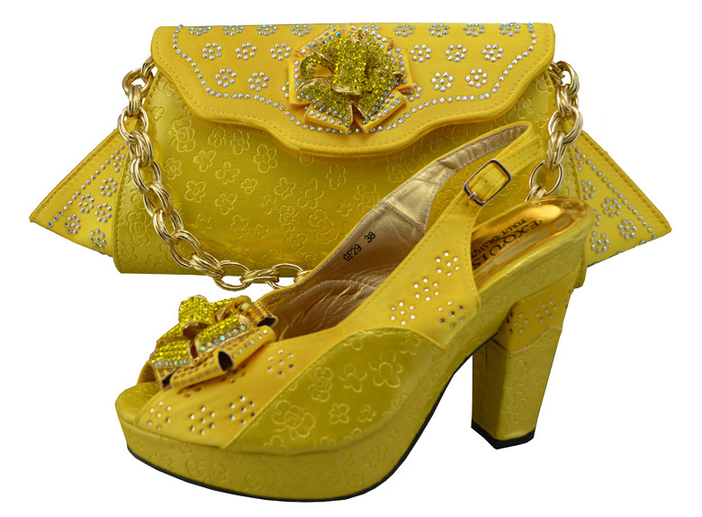 Get Quotations Hot Design Matching Shoes And Bags Italian Las Shoeatching Yellow Size 38