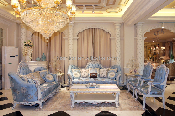 Luxurious French Blue Fabric Hand Carved Living Room Sofa Set And Furniture Moq 1 View Bisini Product