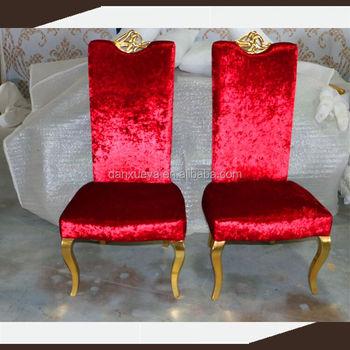 Danxueya Chine Exportation De Meubles Rouge Velours Tissu à Manger Chaise  Avec Or Cadre En Bois