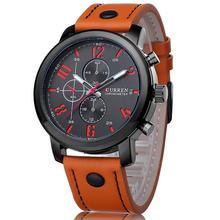 Для мужчин Watch Sport 30 м Водонепроницаемый модные наручные часы Montre Homme Пояса из натуральной кожи Relojes HOMBRE 2018 кварц мужской Бизнес часы(Китай)