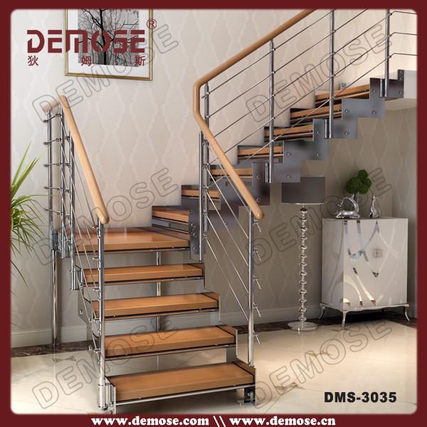 Incroyable Modern Steel Prefabricated Staircase Wood Stair Edging
