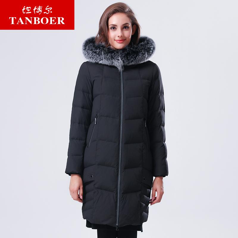 TANBOER doudounes femme hiver vestes longues femmes col de fourrure tissu doux garder au chaud pare-vent manteaux d'hiver TB17666