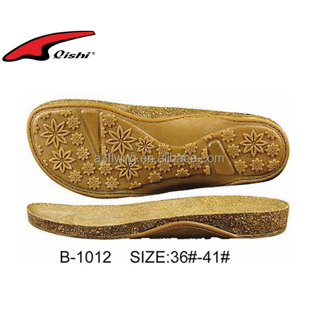 Cork style rubber woman sandals outsole cork wood shoes sole