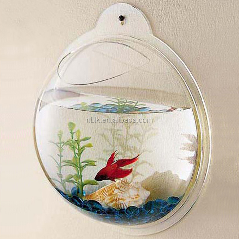 Beautiful acrylic wall hanging fish tank plastic for Acrylic fish bowl
