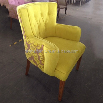 Luxury Floral Velvet Upholstered Tub Dining Chairs For Cafe Shop Or