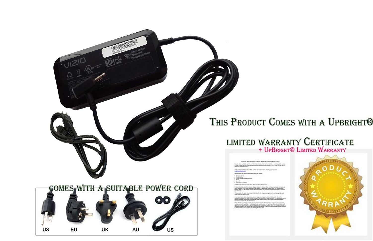 UpBright NEW Genuine OEM Original AC / DC Adapter For Vizio Thin U0026 Light  CT15 CT15