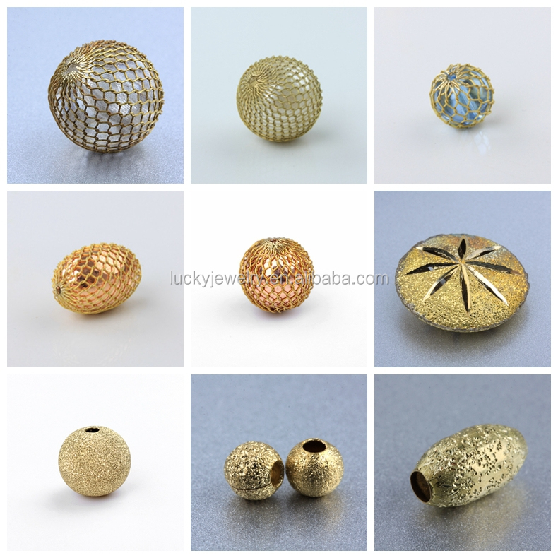 Wholesale Trendy Round Corrugated Brass Beads Beaded Jewelry