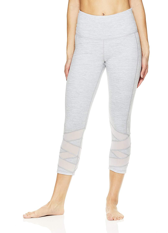 700411d2eb1dc Get Quotations · Gaiam Women's Capri Yoga Pants - Performance Spandex  Compression Legging - Grey Heather, Medium