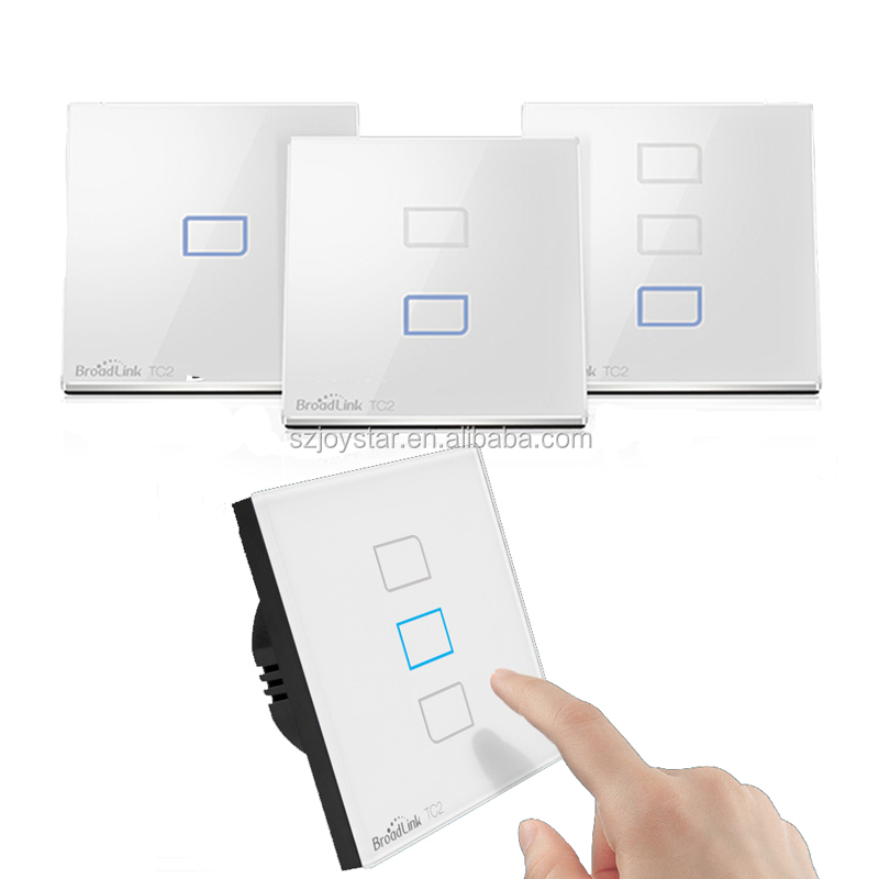 Hot Sell Broadlink TC2 1/2/3 Gang US/UK/EU Smart Home RF 433Mhz Light Switch Modern Design White Touch Panel Wifi 110V 220V