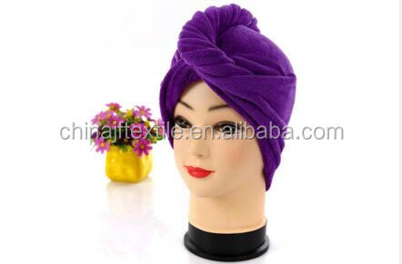 Quick drying microfiber hair towel for curly hair cap/wrapsJF51