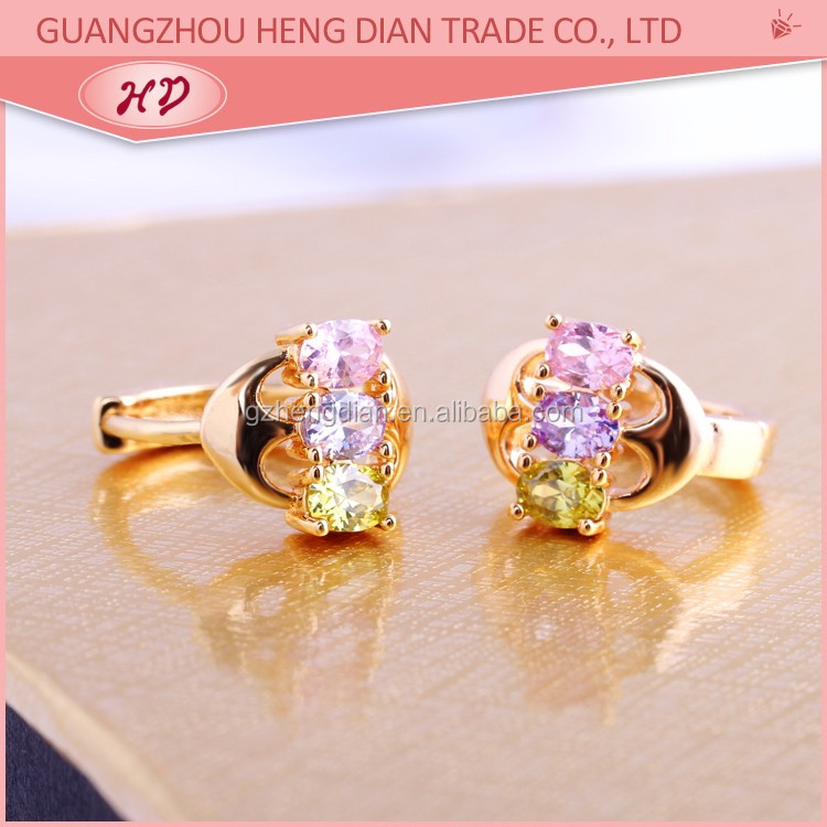 Fashion 18k gold plated wholesale fancy small gold earrings woman ...