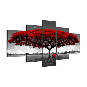 HD abstract modern micro spray home decor five red trees and benches 5 panel canvas wall art for bedroom