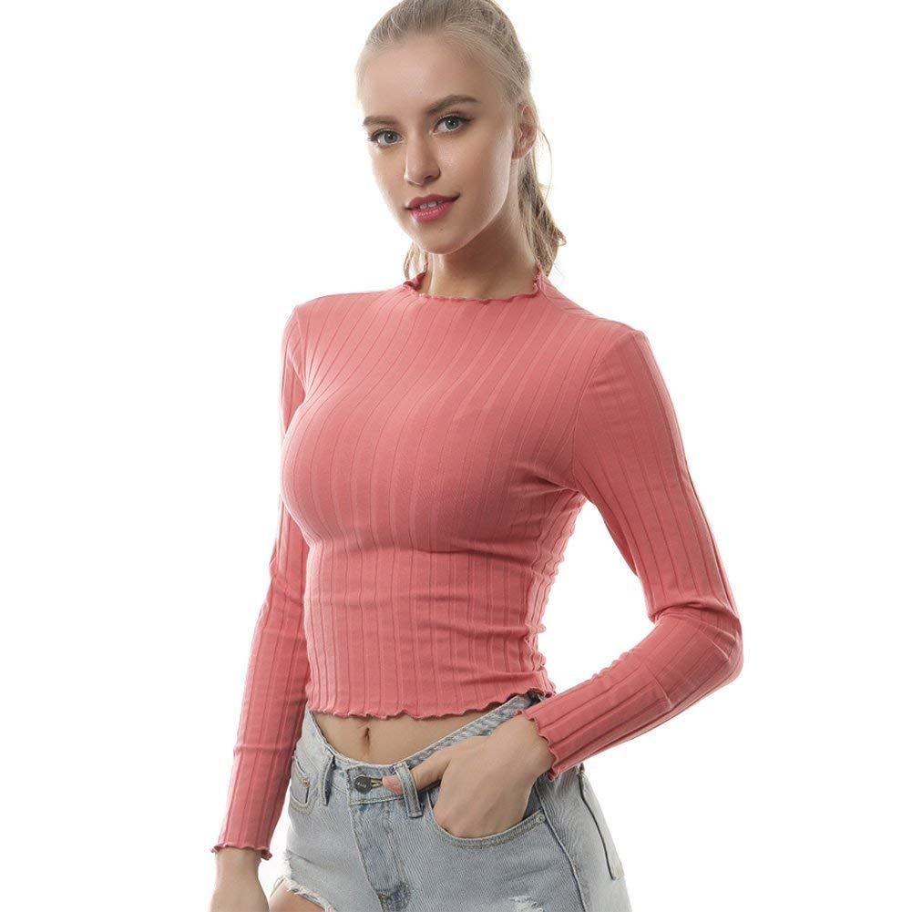 c3f80b8e3229 Get Quotations · Women s Long Sleeves Ruffle Hem Crew Neck Basic Ribbed  Knit Slim Fit Crop Top Tee